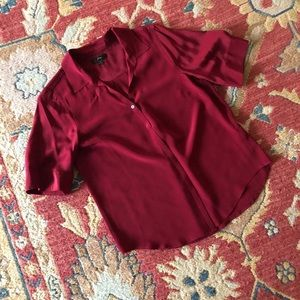 J. Crew 100% Silk Red Button Down top, Small